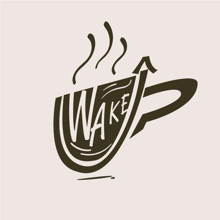 coffee mug logo. wake up - vector illustration