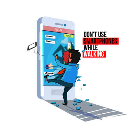 man marched the smartphone , dont use phone while walking .vector illustration Illustration