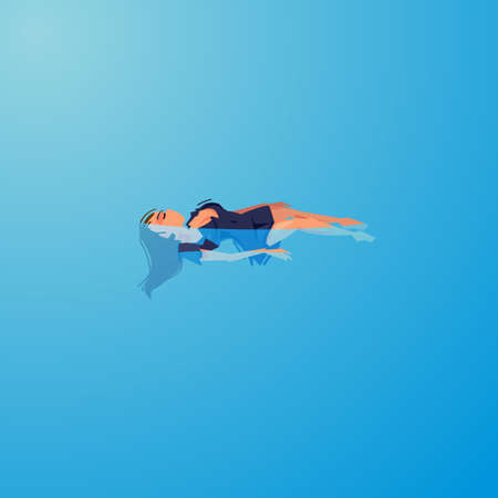 swimming backstroke girl in water. dead or sleep - vector illustartion
