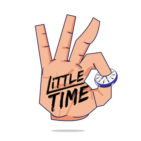 Hand picking wall clock with little time brush typographic. time management concept - vector illustration
