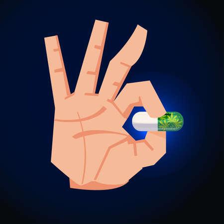 Hand with pill of marijuanas - vector illustration Illustration