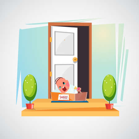 door with unwanted baby in the box. baby hatch - vector illustration