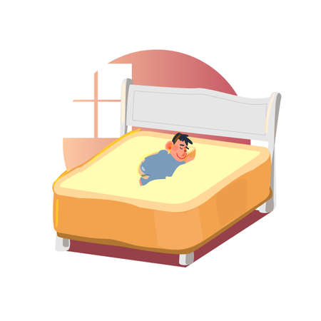 soft bed concept. big bread as bed with guy in the morning. goodmorning. softest bed - vector illustration Фото со стока - 125010139