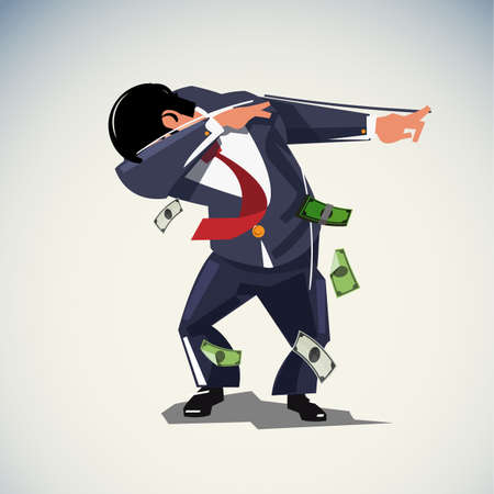 Dabbing or dab businessman, confident or freedom concept - vector illustration Illustration