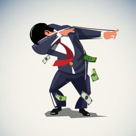 Tamponner ou tamponner l'homme d'affaires, le concept de confiance ou de liberté - illustration vectorielle