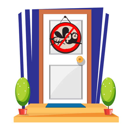 door with stop mosquito sign - vector illustration