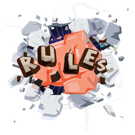 regla de golpe de puño. romper el concepto de reglas - ilustración vectorial