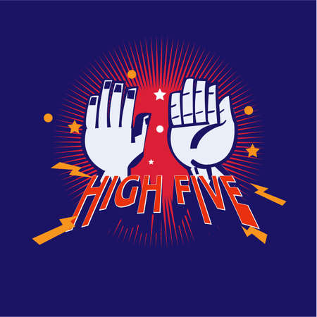 High-Five hand logotype - vector illustration