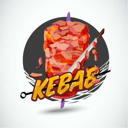 kebab logo - vector illustration
