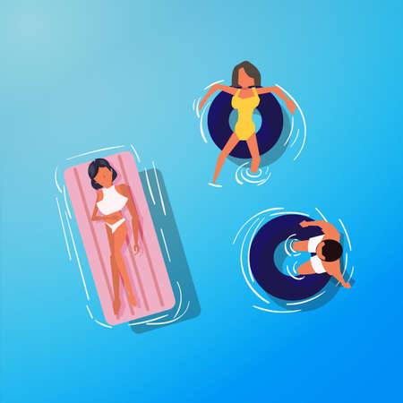 Pool people on floating tube. top view - vector illustration