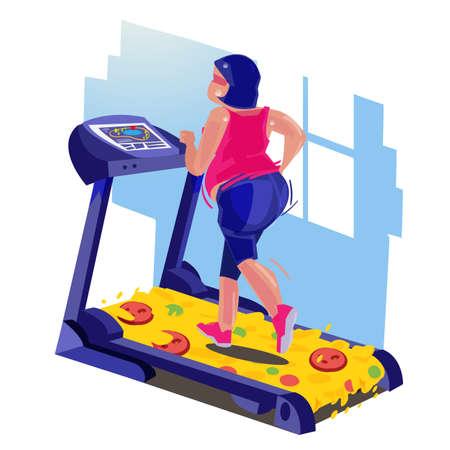 grosse fille qui court sur le tapis roulant de pizza. concept de perte de poids- illustration vectorielle