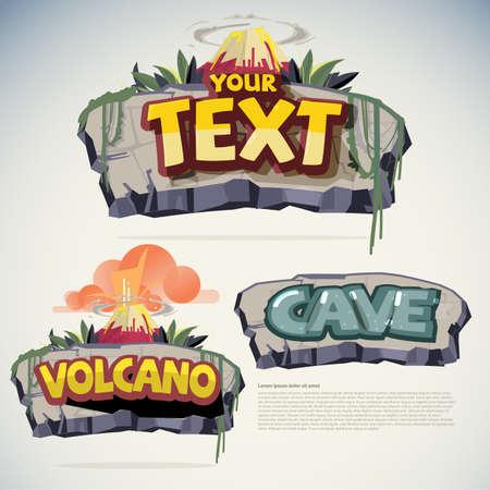 Plantilla de letrero de piedra y volcán. concepto de signo de juego - ilustración vectorial Ilustración de vector