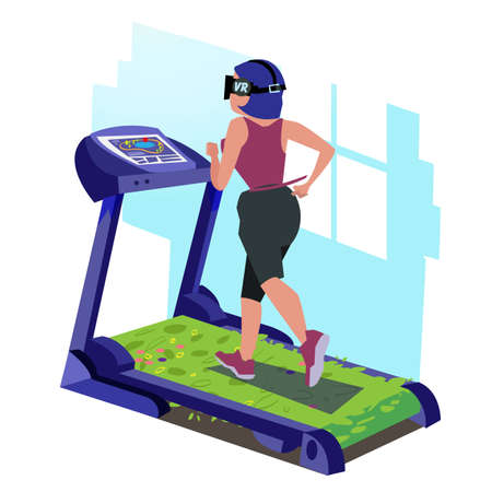 girl with vr headset running on tradmill of grass  - vector illustration 向量圖像