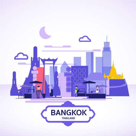 Bangkok landscape or skyline - vector illustration