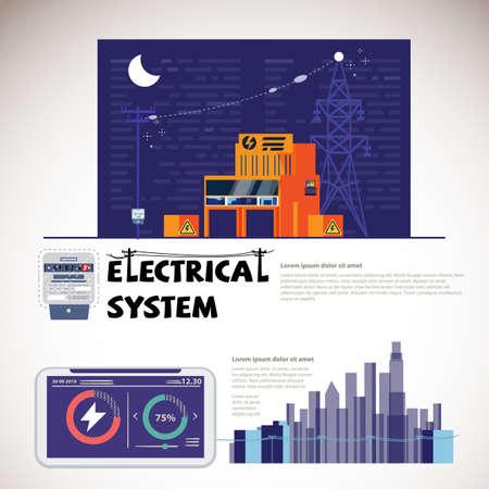Centrale électrique, production, transmission et distribution d'électricité. concept de système électrique - illustration vectorielle
