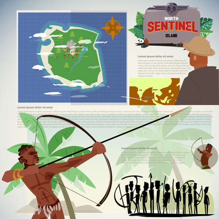 north sentinel island, missing island. Sentinelese with archer in action, indigenous people- vector illustration