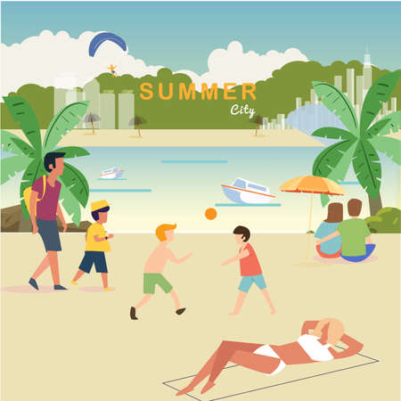 Beachs life concept. summer city, relaxation people near the beach - vector illustration Ilustração