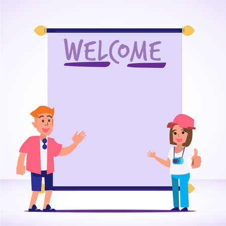 foreigner tourist with welcome sign - vector illustration Иллюстрация