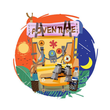 backpack. all day all night adventure concept - vector illustration