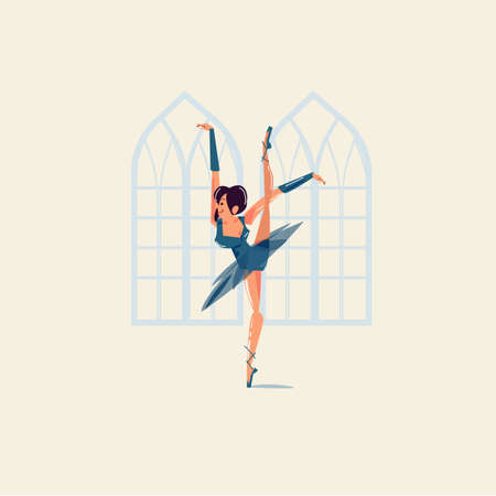 Ballet dancer in vintage room - vector illustration