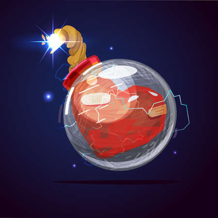 bomb ready to explode , heart attack icon - vector illustration