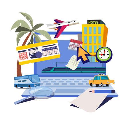 Booking online for travel, hotel, car, train, plane - vector illustration