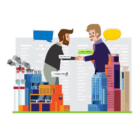 Business handshake next to power station or factory - vector illustration Stock Illustratie