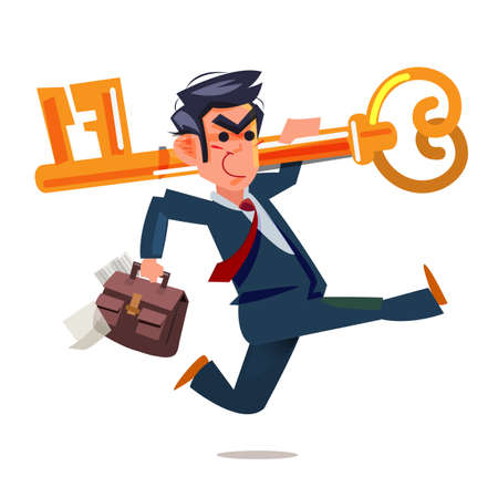 The businessman with key to success at the top of career - vector illustration