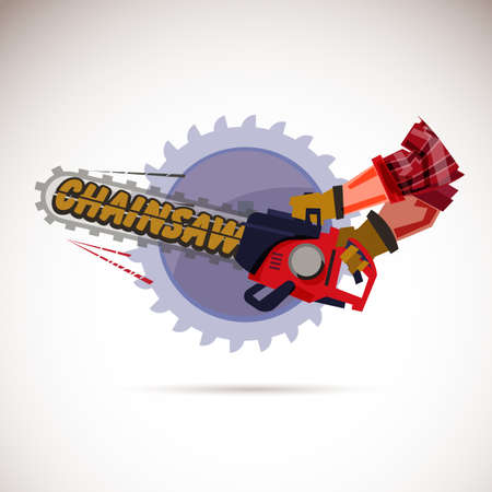 hand with chainsaw - vector illustration