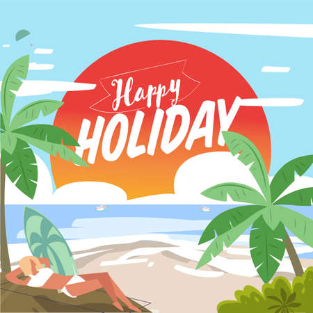 Beautiful beach with Happy Holiday  text - vector illustration