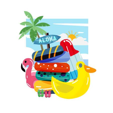 colourful lifebuoy - vector illustration Illustration