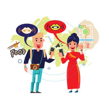 people talk together and understand by translation on mobile phone - vector illustration Illustration