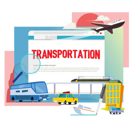 Logistics and transportation ,truck ,High speed train, Boat and plane with blank space to presentation - vector illustration 写真素材 - 118379243