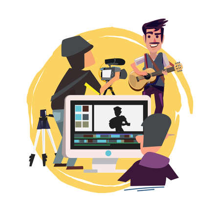 Group of friend taking video and editing for video online or vlod - vector illustration Illustration