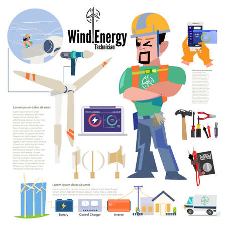 Wind Energy Technician or engineer at energy park. character desig with information about his job. typographic. wind energy set - vector illustration