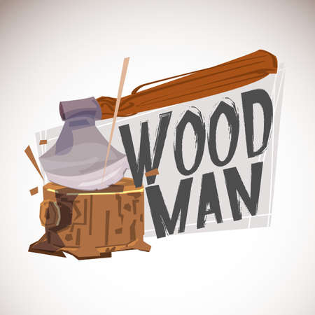 Woodman Carpenter logo design. lumberjack concept - vector illustration
