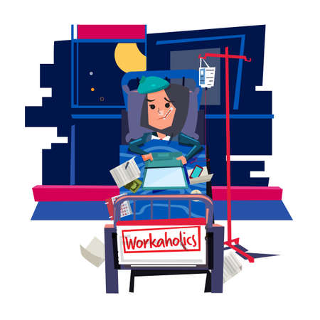 Workaholic girl. busy girl work on bed and get sick - vector illustration Foto de archivo - 118379255
