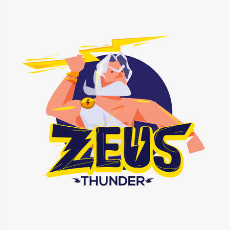 Zeus logo. character design of Zeus - vector illustration Stock Illustratie