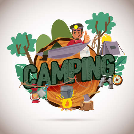 Camping logo graphic. camper with camping gear collection - vector illustration