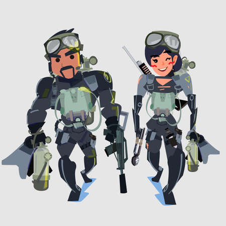 Navy seal team couple - vector illustration