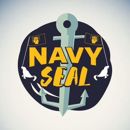 Navy seal logo or badge symbol - vector illustration Ilustração