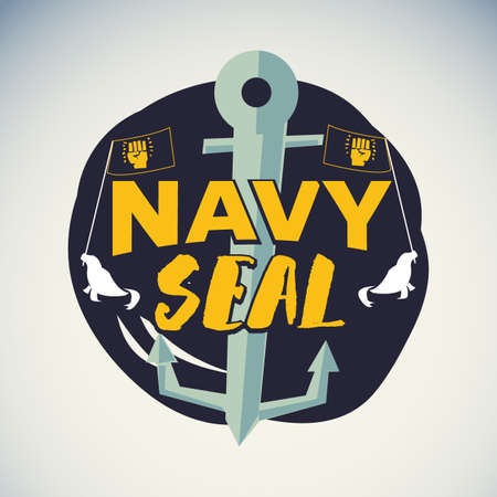 Navy seal logo or badge symbol - vector illustration  イラスト・ベクター素材