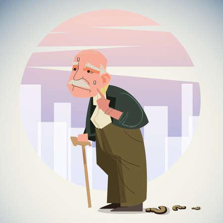 Il vecchio uomo depresso cammina da solo per la strada con il bastone da passeggio, ha perso la strada per casa - illustrazione vettoriale