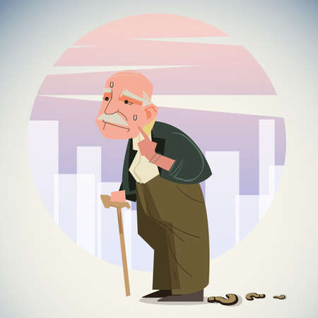 Old depressed man walk alone down the street with walking stick, lost way to home - vector illustration 矢量图像