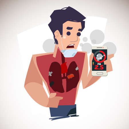 man showing PM 2.5 in dust meter application by smartphone and get bad healthy lung. air pollution reaches ludicrous levels - vector illustration