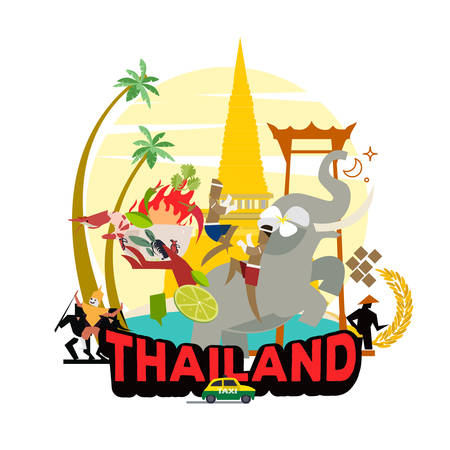 graphic elements for traveling in Thailand. graphic set of culture in Thailand - vector illustration Ilustração