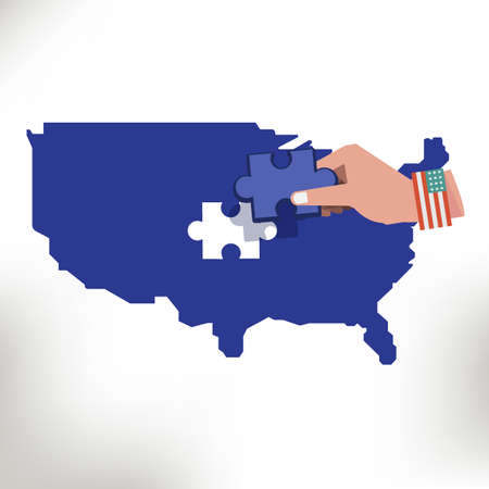 Usa map with missing jigsaw piece in hand - vector illustration