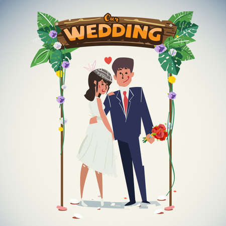 Wedding couple with jungle wedding arch - vector illustration