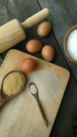 Dried Yeast with Egg, Sugar and Flour for making Bakery Stock Photo