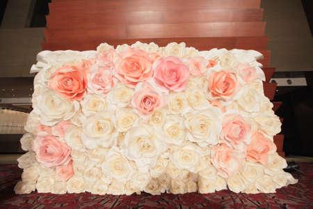 pink rose paper backdrop Standard-Bild